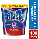 Finish Dishwasher Detergent Tablets, All in One MAX, 100 Tablets