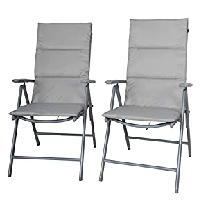 Chicreat, set di sedie pieghevoli da campeggio imbottite, set da 2, colore argento/grigio 3 spesavip