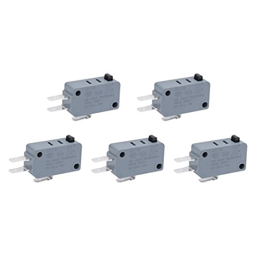- uxcell 5Pcs G5T16-E1Z200 NO+NC SPDT 3 Pole Black Push Button Action Momentary Micro Switch