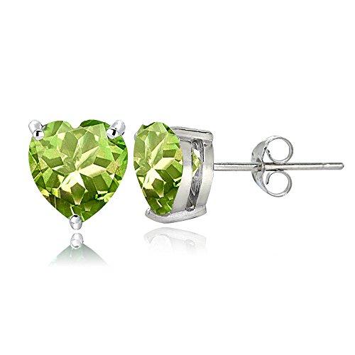 Sterling Silver Peridot 7mm Heart Stud Earrings