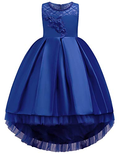JOYMOM Ball Gowns for Kids,Pearl Neckline Sleeveless Three-Dimensional Handwork Flower Cute Dresses Fit and Flare Layered Trendy Long Train Dress Royal Blue Size(110) 3-4 -