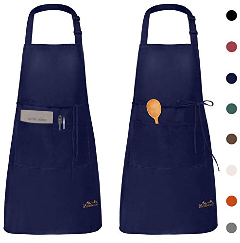 Viedouce Aprons with Pockets for Women Men Water Resistant Cooking Baking Grilling Painting Crafting Chefs Aprons 2 Pack… 1