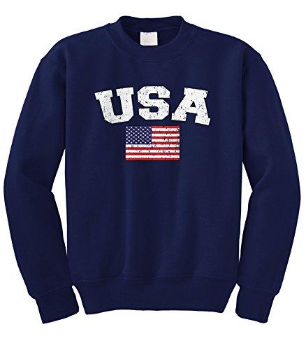(Cybertela Faded Distressed USA Flag Crewneck Sweatshirt (Navy Blue, X-Large))