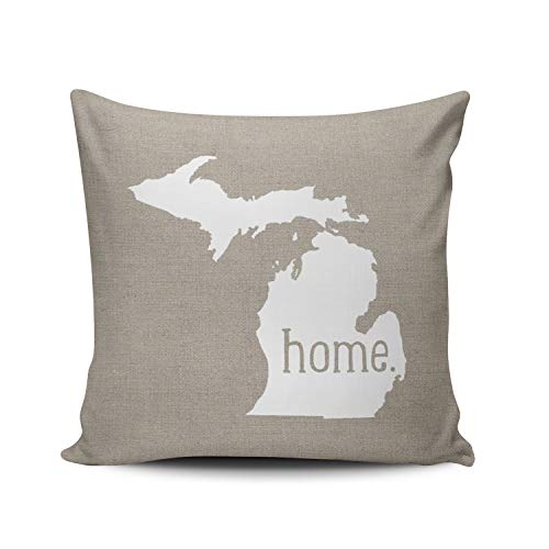 - ANLIPU Personalized Decorative Pillowcases Michigan Home State Throw Pillow Covers Cases Square Size 18x18 Inches Print on Two Sides