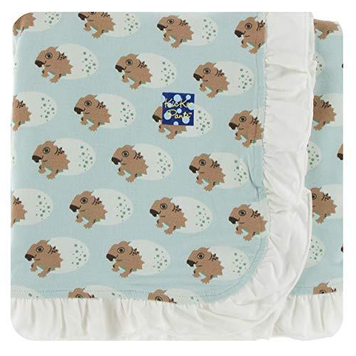 - KicKee Pants Little Girls Print Ruffle Stroller Blanket - Spring Sky Diictodon, One Size
