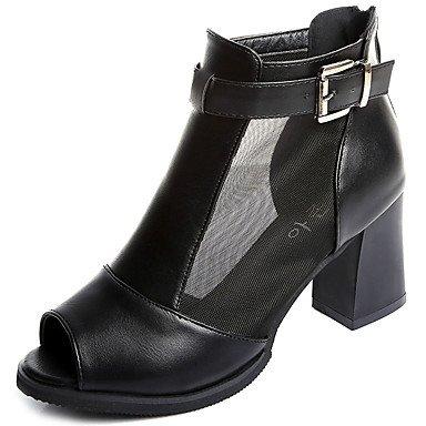 Sandalias mujer Primavera Verano Zapatos de Vestir Casual Club PU Chunky talón hebilla negra cremalleraBlanco White