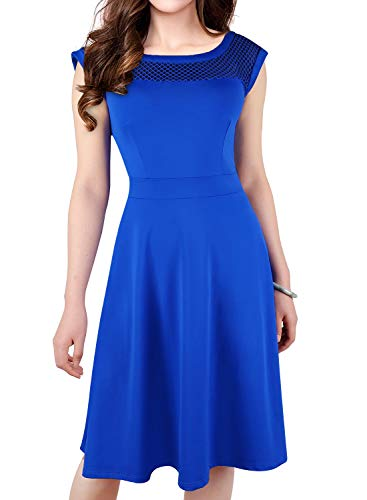 ZX popular Dresses for Women Casual Summer Sleeveless Dress A-Line Round Neck Party Cocktail Dresses Blue ()