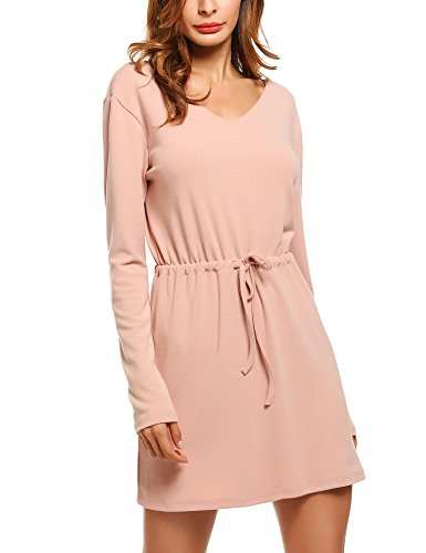 V-Neck Drawstring Knit Dress - 2