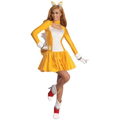 [Secret Wishes  Costume Sonic The Hedgehog, Adult Tails Dress and Accessories, Orange/White, Small] (Sonic The Hedgehog Tails Costumes)