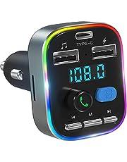 Transmissor FM LENCENT Bluetooth 5.0, Player de música sem fio sem fio para carro, Adaptador de rádio Bluetooth 2 USB + Carregamento tipo C, 7 modos de luz dinâmica, suporte para graves profundos para disco U / cartão TF
