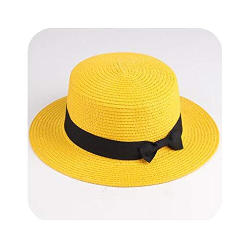 (Women Boater Beach Hat Panama Hat Lady Classic Bowknot Straw Flat Sun Hat,Yellow,Adult Size)
