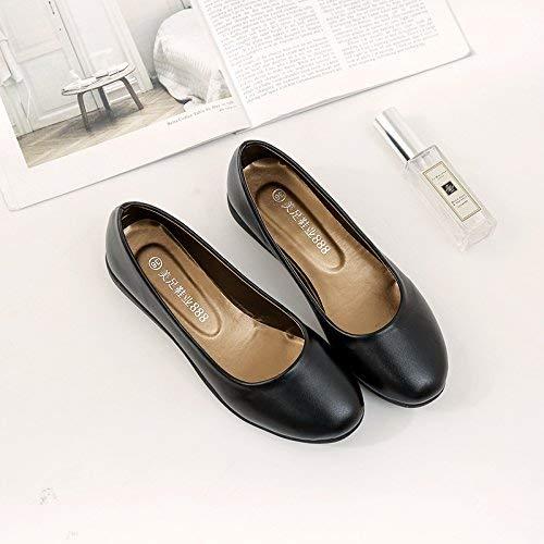 Eeayyygch Court Schuhe Low-Heeled Arbeitsschuhe weiblich schwarz flach Weichen Boden Runde Schuhe Damenschuhe Arbeitsschuhe Berufsschuhe 40 Yards 41 36 schwarz (Farbe   - Größe   -)