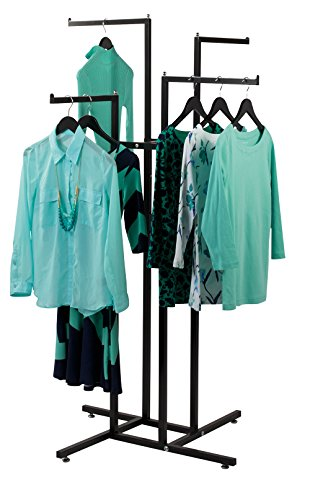 SSWBasics 4 Way Clothing Display Rack with Straight Arms (Black)