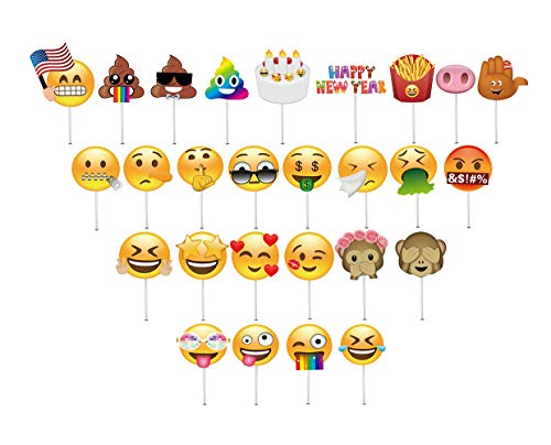 Moreteam NEW 27pcs Emoji Photo Booth Props DIY Kit Face Masks for Birthday Reunions, Wedding, Christmas, Party Decorations -