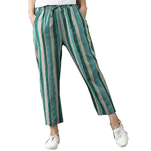 VEZAD Casual Sports Cropped Pants Women's Summer Cotton Linen Trousers