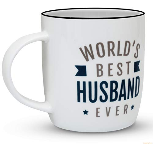 Gifffted Husband Coffee Mug, Worlds Best Husband Ever, Funny Gift for Husband from Wife Dad Anniversary and Birthday Gifts, Ceramic, 13 Ounce