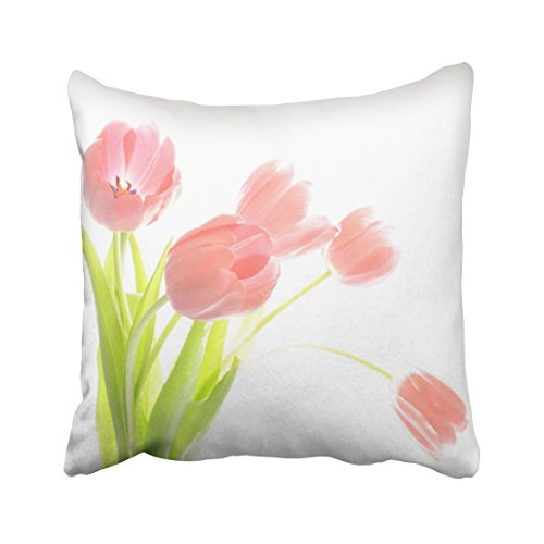 KJONG Outdoor Patio Pink Tulip Flower Zippered Pillow Cover,20X20 inch Square Decorative Throw Pillow Case Fashion Style Cushion Covers(Two Sides Print) Natural Accent Outdoor Lighthouse
