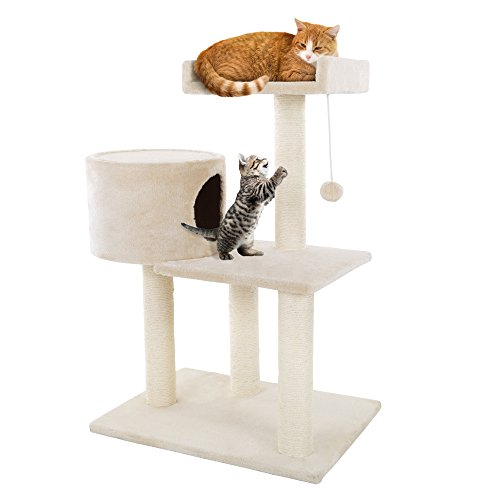 3 Tier Cat Tree- Plush Multi Level Cat Tower with Scratching Posts, Perch Style Bed, Cat Condo and Hanging Toy for Cats…