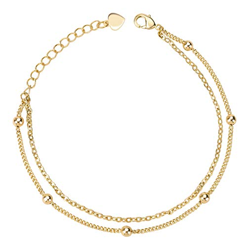 Double Layered Beach Anklet Foot Bracelet 18K Gold Plated Dainty Satellite Chain Minimalist Jewelry for Women Girls 8.2''