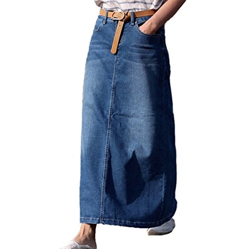 Gonna Casual Blu Skirts Denim Skirts Cucitura Gonna Jeans Jeans NiSeng Lungo Donna Mode Denim tOqwUwZg