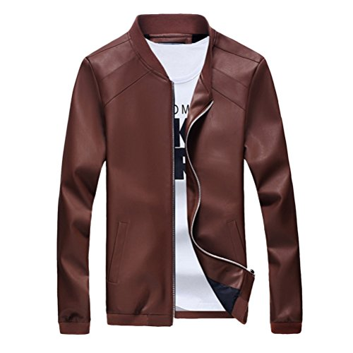Morbido Brown Tops Zhhlaixing Pu Long Casual Outerwear Leather Coat Jacket Classic Mens Sleeve BqAFSxpwT