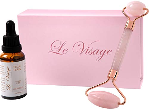 French Pink Jade Roller Gift Box Set With Vitamin C & E Serum Made in France 1 YR Return Policy! (Light Pink)