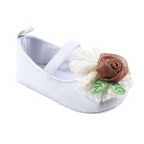 Jamicy® Kleinkind Mädchen weichen Sohle Krippe Schuhe niedlich Anti-Rutsch Prinzessin Freizeitschuhe Weiß