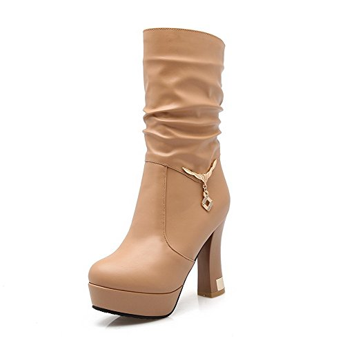 Allhqfashion Women's Pull On Round Closed Toe High Heels Mid Top Boots Apricot