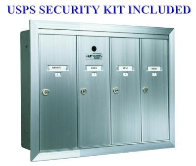 1250 Series Vertical Mailbox Unit Number of Compartments: 4 - Four, Color: Aluminum Anodized