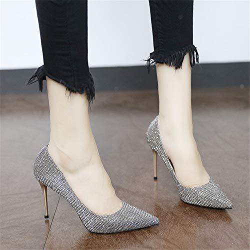 Altos Elegantes EU del Banquete del 38 los 39 Temperamento los señalaron Tacones YMFIE Estilo del UE Estilo Estilete Zapatos Europeo Boca Zapatos de la Baja del del Los xqtTatfw8p