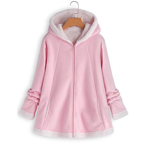 Chaqueta con Capucha de Felpa con Capucha para Mujer con Capucha y Bolsillo con Cremallera Informal más suéter de tamaño Tops de Manga Larga para Mujer ...