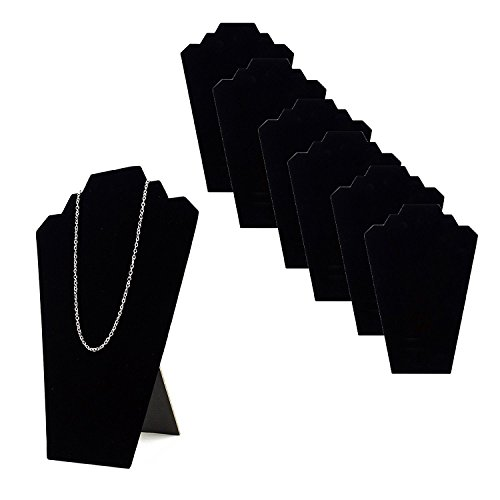 Tytroy Black Velvet Stand Jewelry Necklace Easels Display Padded Showcase Tower (6pc) - Padded Necklace Display Easel