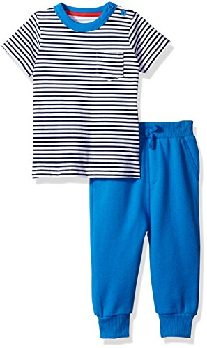 Isaac Mizrahi Baby Boys' 2 Pc Side Button S/S Tee with Cotton French Terry Pant Set, Blue Stripes, 24 Months