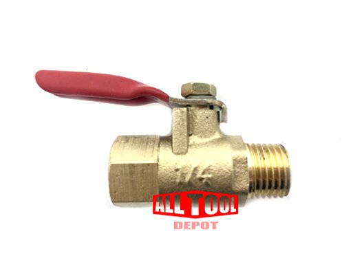 All Tool Depot BV-02 Series Forged Brass Mini Ball Valve, 180 Degree Operation Handle, NPT Female Male, Rated to 600WOG (1/4