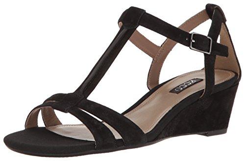 Ecco Womens Dames Rivas 45-t-strap Wedge Sandaal Zwart