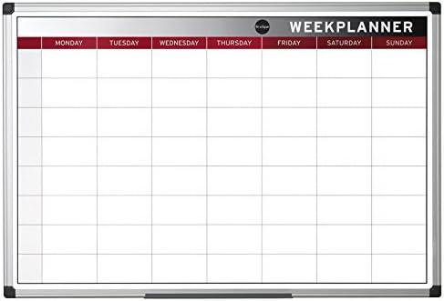 """Bi-Office Earth - Umweltfreundliches Planungstafel """"Week Planner"""", 90 x 60 cm, Magnetischer Wochenplaner mit Aluminiumrahmen, Trocken Abwischbar Wochenkalender"""
