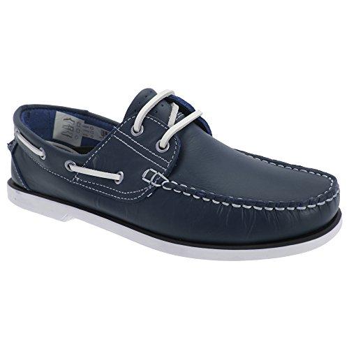 Dek - Zapatos de piel tipo mocasín Modelo boat sin marcas Hombre Caballero Azul real