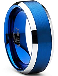 Tungsten Carbide Men's Brushed Wedding Band Blue Plated Engagement Ring 8mm Comfort Fit Sizes 7 to 15