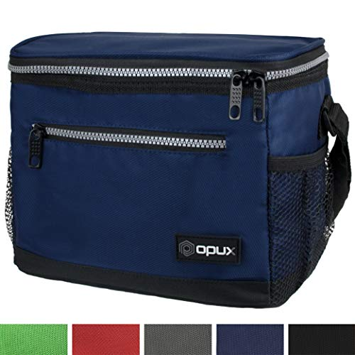 OPUX Premium Lunch Box, Insulated Lunch Bag for Men Women Adult | Durable School Lunch Pail for Boys, Girls, Kids | Soft Leakproof Medium Lunch Cooler Tote for Work Office | Fits 14 Cans (Navy)