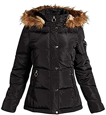 Madden Girl Women's Winter Puffer Jacket with Zippered Pockets and Fur Trim, Size Small, Black'