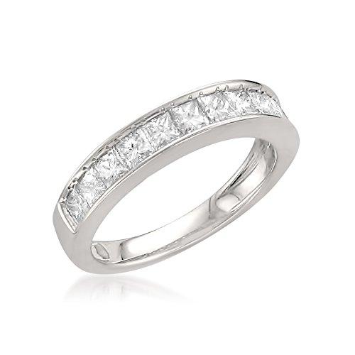 14k White Gold Princess-cut 11-Stone Diamond Bridal Wedding Band Ring (1 cttw, J-K, SI1-SI2), Size 8.5 by La4ve Diamonds (Image #1)