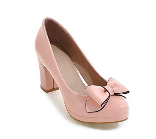 KHSKX-Im Herbst 7.5Cm Schuhe Mit Hohen Absätzen Harte Sohle Schuhe Runden Bug Bug Und Schuhe Große Code Pink