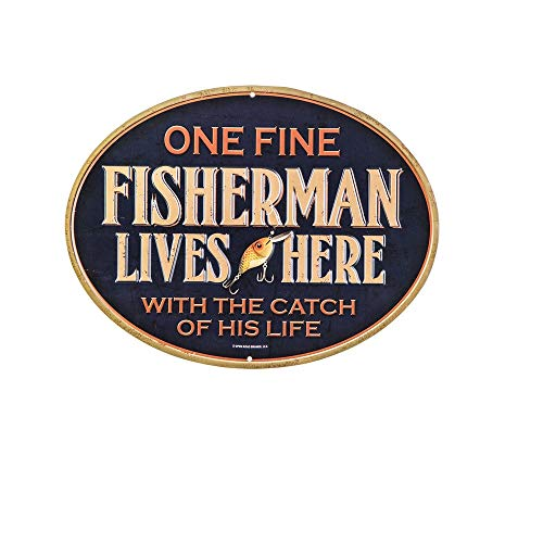 Open Road Brands Fisherman Lives Here Metal Sign Decor Fishing 12,5 x 9,5 ()