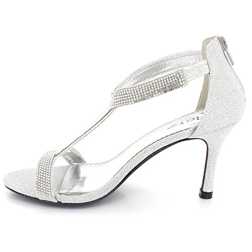 Silver Shoes Party Ladies High Heel Bridal Sandals Diamante Prom AARZ Wedding Evening LONDON Women Mid Size Crystal aqnwgpR