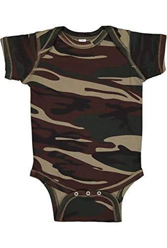 % Combed Ringspun Cotton 1x1 Baby Rib Camouflage Lap Shoulder Short Sleeve Bodysuit ()