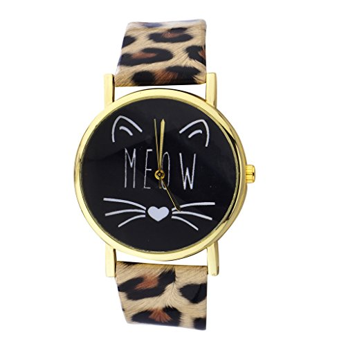 Lux Accessories Gold Tone Meow Cat Face and Leopard Pattern Watch Band Watch