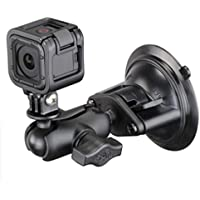 RAM Twist Lock Suction Cup Mount, Short Double Socket Arm & 1 Diameter Ball with Custom GoPro Hero Adapter