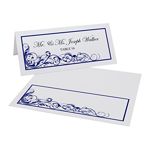 Scribble Vintage Swirl Easy Print Place Cards, Pearl White, Navy, Set of 450 (113 Sheets) by Documents and Designs