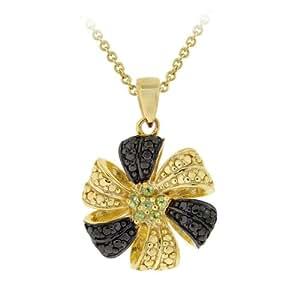 Goldtone Finish Silver Peridot Flower Pendant Necklace