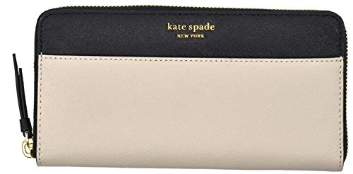 - Kate Spade New York Laurel Way Neda Saffiano Leather Zip Around Wallet (Black) (Warm Beige/Black)
